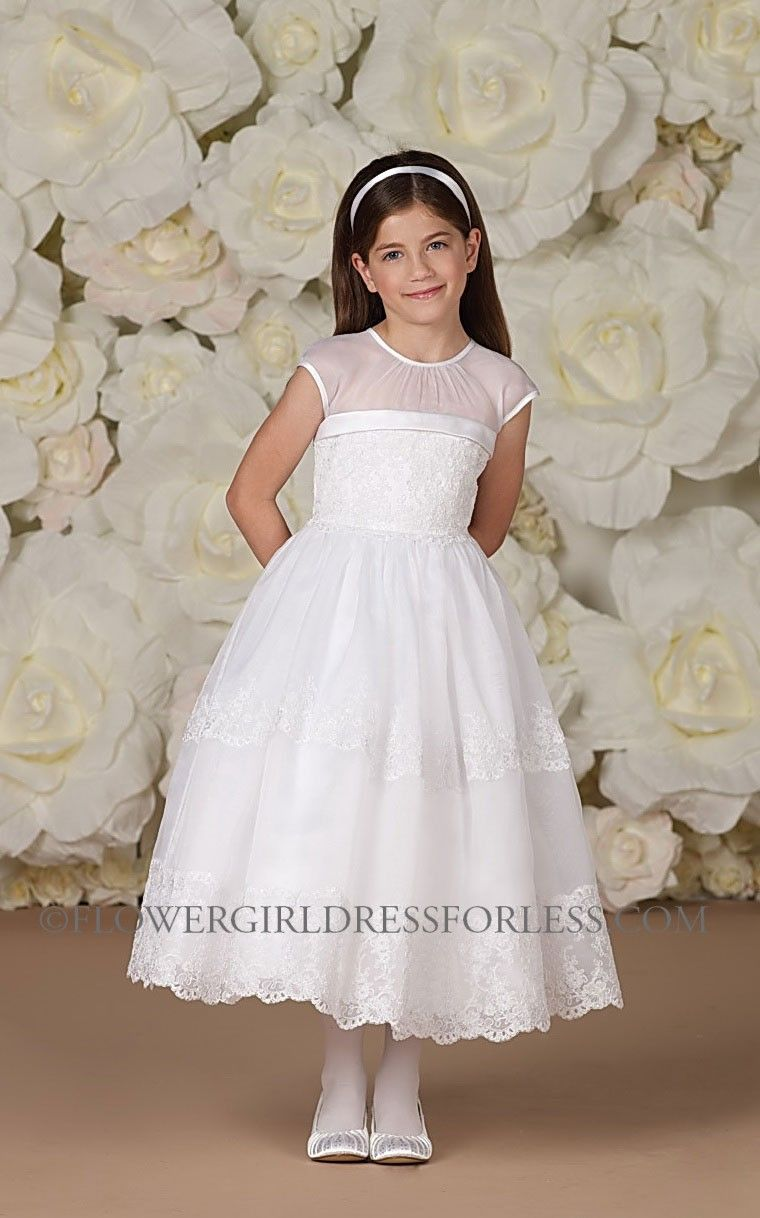 Joan Calabrese Style 113370 Cap Sleeve Organza And Satin Dress With