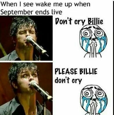 "Really! It makes me so sad when he's sad- In a movie I have they were like ""OK what does the song Holiday mean?"" And the bands like ""No. We don't talk about Holiday"" and the the interviewer goes ""What about Wake Me Up When September Ends?"" And Billies etes just died inside and it was so sad"