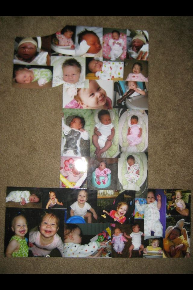 poster board cutout of age on birthday with photo collage