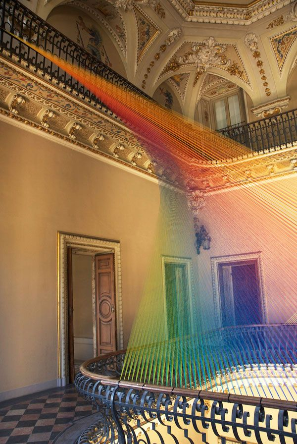 weandthecolor:  Installation by Artist Gabriel Dawe Plexus No. 19 is an installations with colorful ribbons by artistGabriel Dawe. Check out more images of the installation here. Find WATC on:FacebookITwitterIGoogle+IPinterestIFlipboardIInstagram