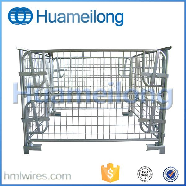 Huameilong logistics stacking wire mesh lockable pallet container