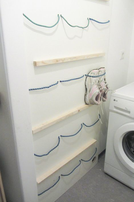 spanngummi schuhregal sch n platzsparend diy organisation pinterest. Black Bedroom Furniture Sets. Home Design Ideas