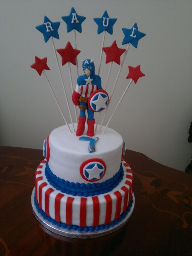 Admirable Captain America Cake With Images Captain America Birthday Cake Funny Birthday Cards Online Alyptdamsfinfo