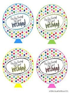 Birthday balloons-print and put on a swirly straw