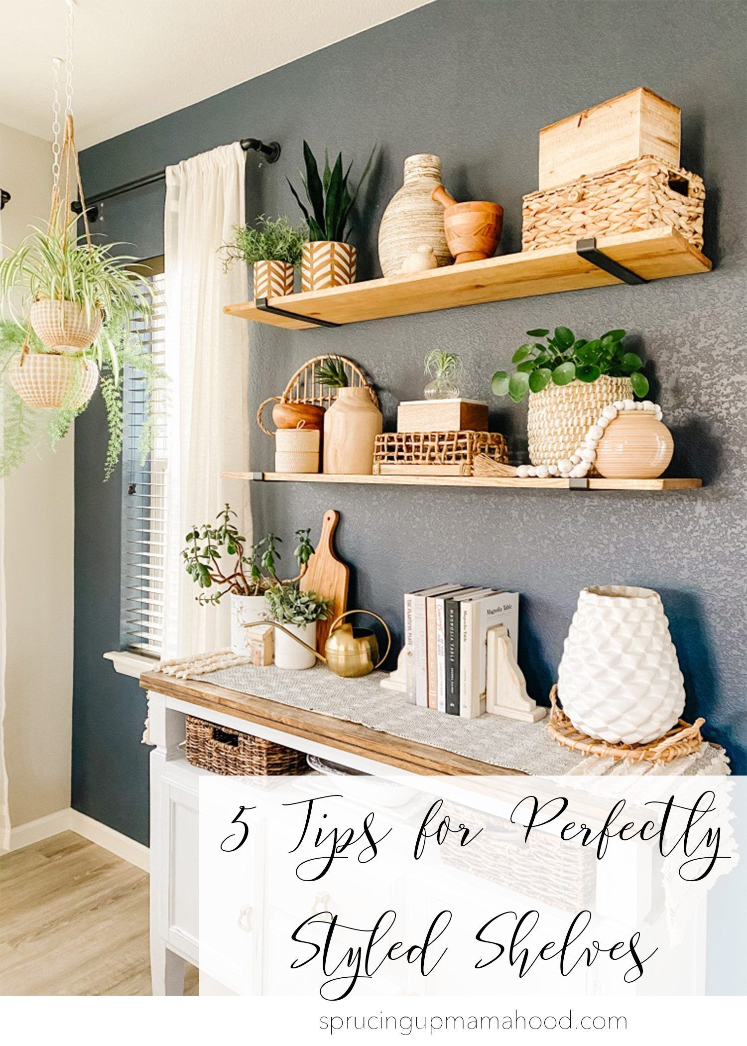 Do you struggle with decorating and styling your built-in shelves or bookcases? Click the link to read my top five tips for perfectly styled shelves! My tutorial and tricks on how to style your shelves should help you with any shelf or tabletop decor and help you create the perfect shelfie!  #shelfstyling #howtostyle #shelfdecor #tabledecor #shelfaccessories #howtodecorate #shelfie