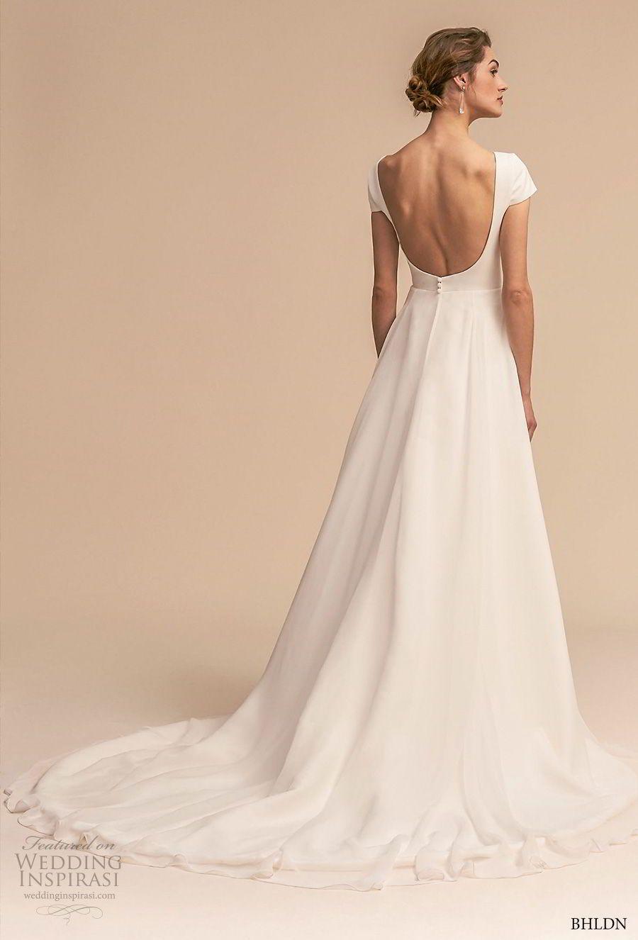 Bhldn 2018 Whispers Bridal Short Sleeve Bateau Neck Simple Clean Elegant Classic A Line We Plain Wedding Dress Wedding Gown Backless Simple Wedding Dress Short [ 1326 x 900 Pixel ]