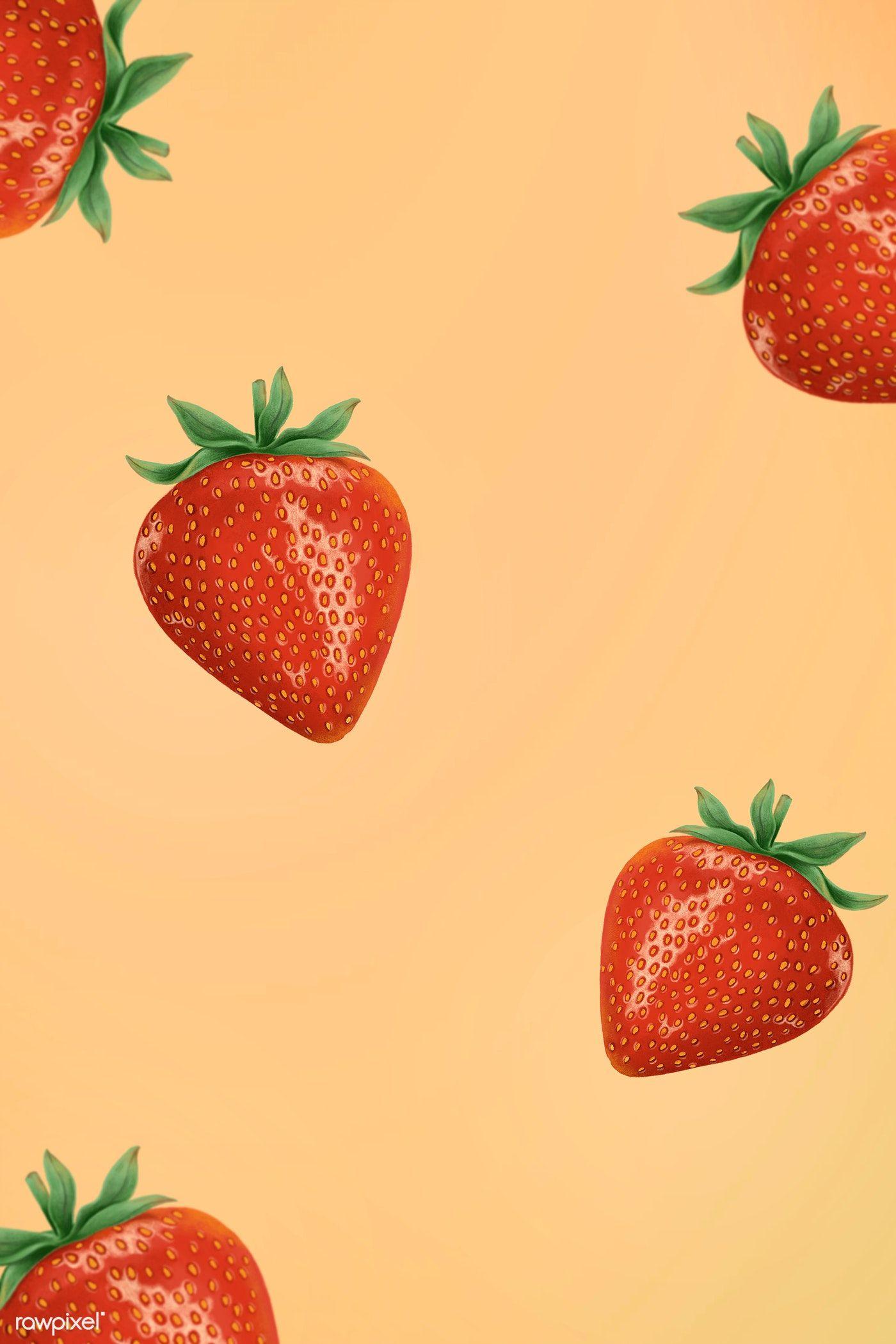 Fresh juicy strawberry patterned background free image