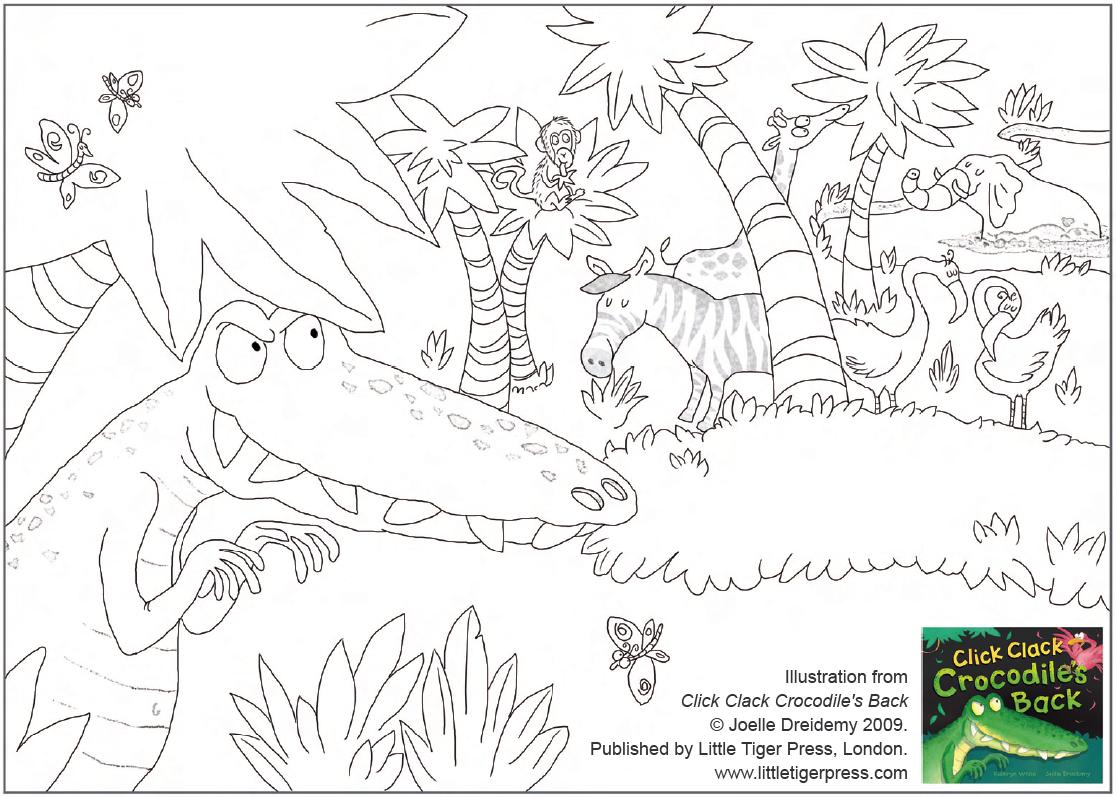 Click Clack Crocodile S Back Colouring Sheet