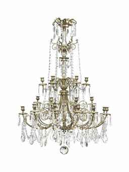 A LARGE FRENCH GILT-BRONZE AND GLASS TWENTY-FOUR LIGHT CHANDELIER LATE 19TH CENTURY The moulded glass stem issuing three tiers of scrolled branches, strung with drops and pendants from branches and candleholders, not made or adapted for electricity 46 in. (117 cm.) high; 37 ¾ in. (95.5 cm.) diameter