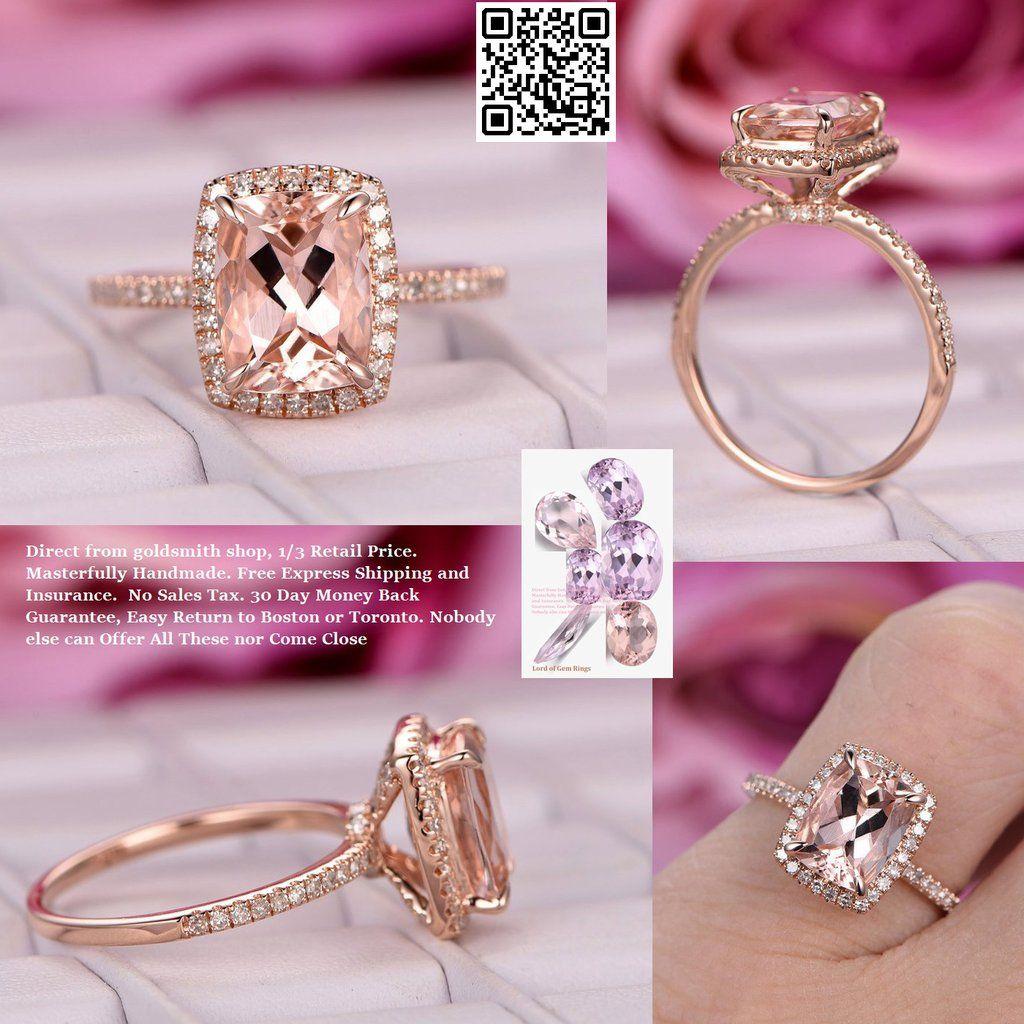Cushion Morganite Engagement Ring Pave Diamond Wedding 14K Rose Gold ...