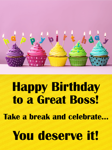 Rainbow Cupcake Happy Birthday Card For Boss This Bright Yellow Holds Your Best Wishes A Great On Their While Theres Always Lots