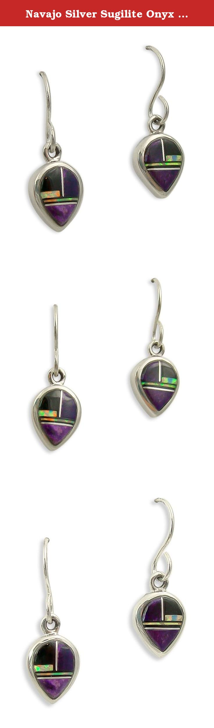 Navajo silver sugilite onyx lab opal dangle earrings these dainty