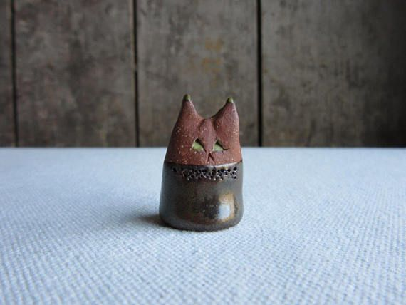 Miniature Green-Eyed CatCeramic Cat FigurineHandmade Pottery
