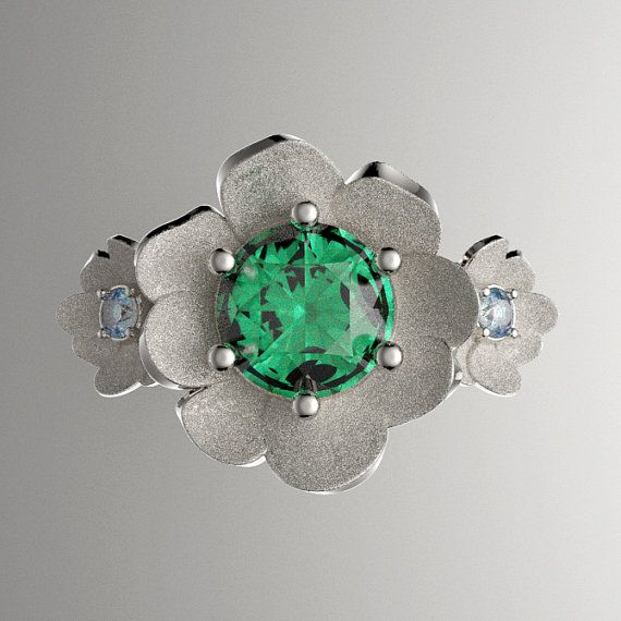 Nature Classic 14K White Gold 1.0 Ct Emerald by GormanDesigns