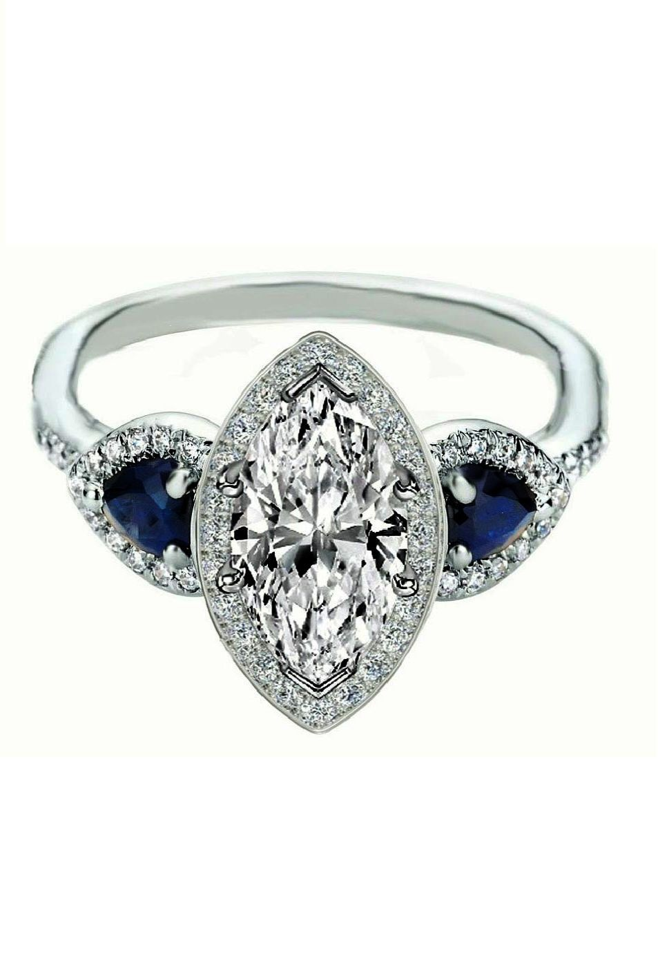 Marquise diamond halo engagement ring pear shape blue sapphire side