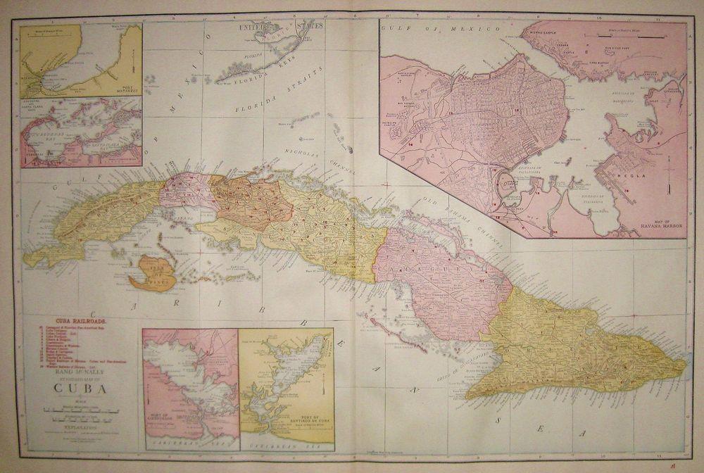 1921 Antique CUBA Map w RAILROADS Rare