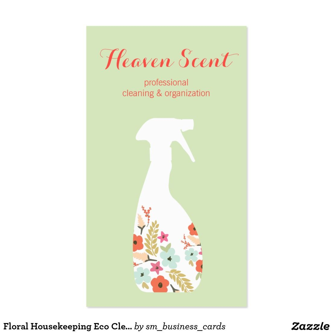 Floral Housekeeping Eco Cleaning Service Business Card | Cleaning ...