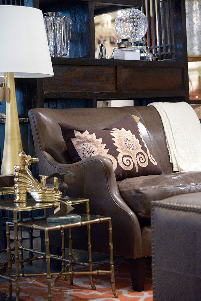 leather sofa with gold accents at houston mecox interiordesign rh pinterest it