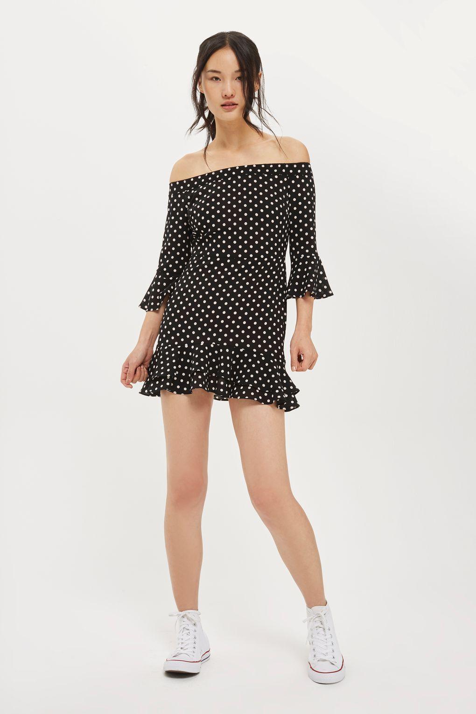 PETITE Spot Frill Bardot Dress - Petite - Clothing