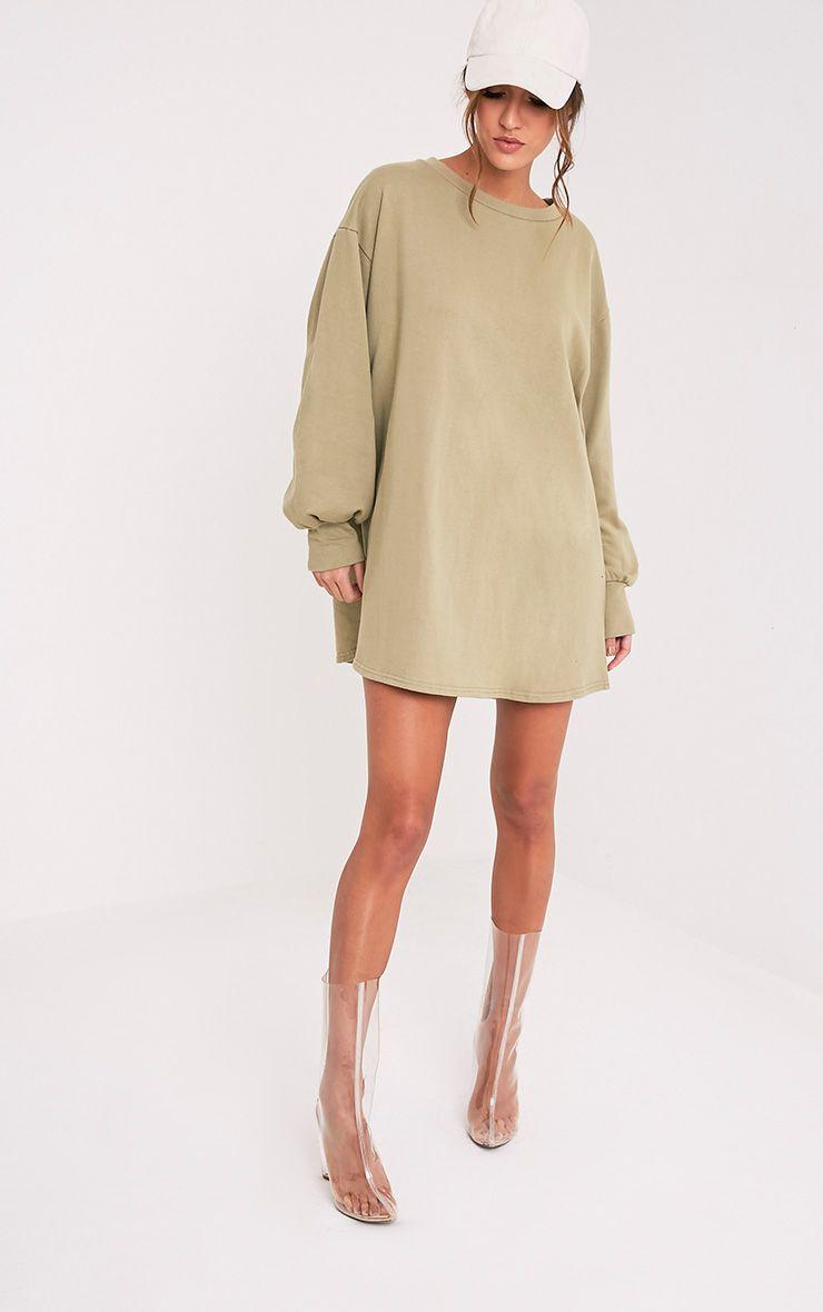 6449f4470c7 Sianna Sage Green Oversized Sweater Dress