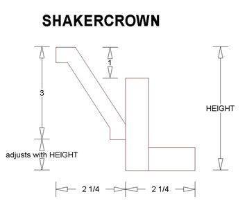 Shaker Crown Profile Modify With Flat On Top Angle And