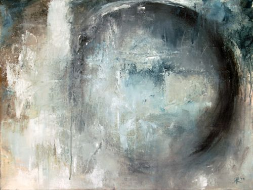 Angela Wales Rockett Waiting Moon, mixed media abstract in blue/white