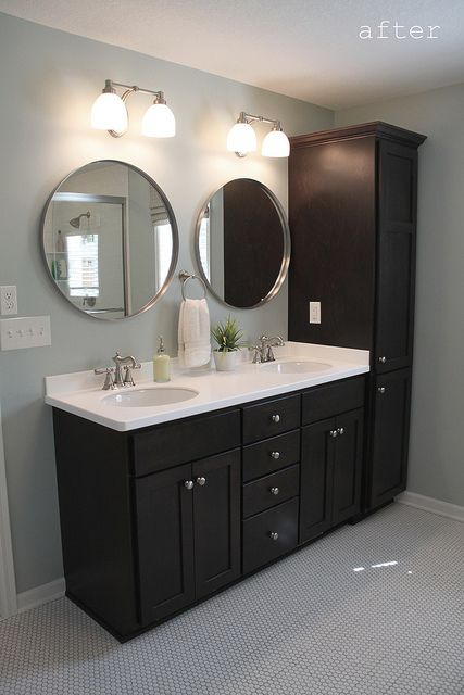 love this for master bath with one sink and another tall cabinet on rh pinterest com