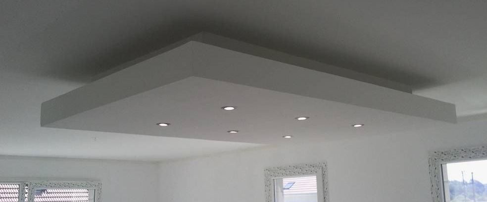 Plafond Design Placo : Déroché plafond descendu suspendu ilot central