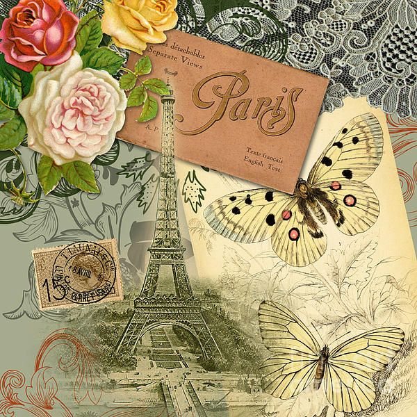 Vintage Eiffel Tower Paris France Collage Greeting Card By