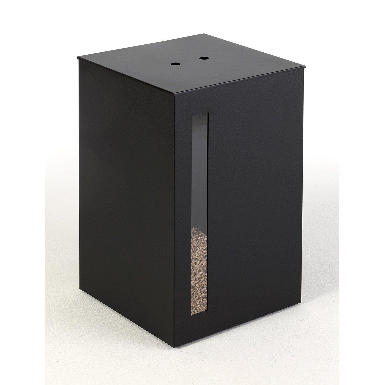 Reservoir A Granules Noir Atelier Dixneuf Titan L 40 X H 63 Cm Leroy Merlin Rangement Idees Pour La Maison Acier Noir