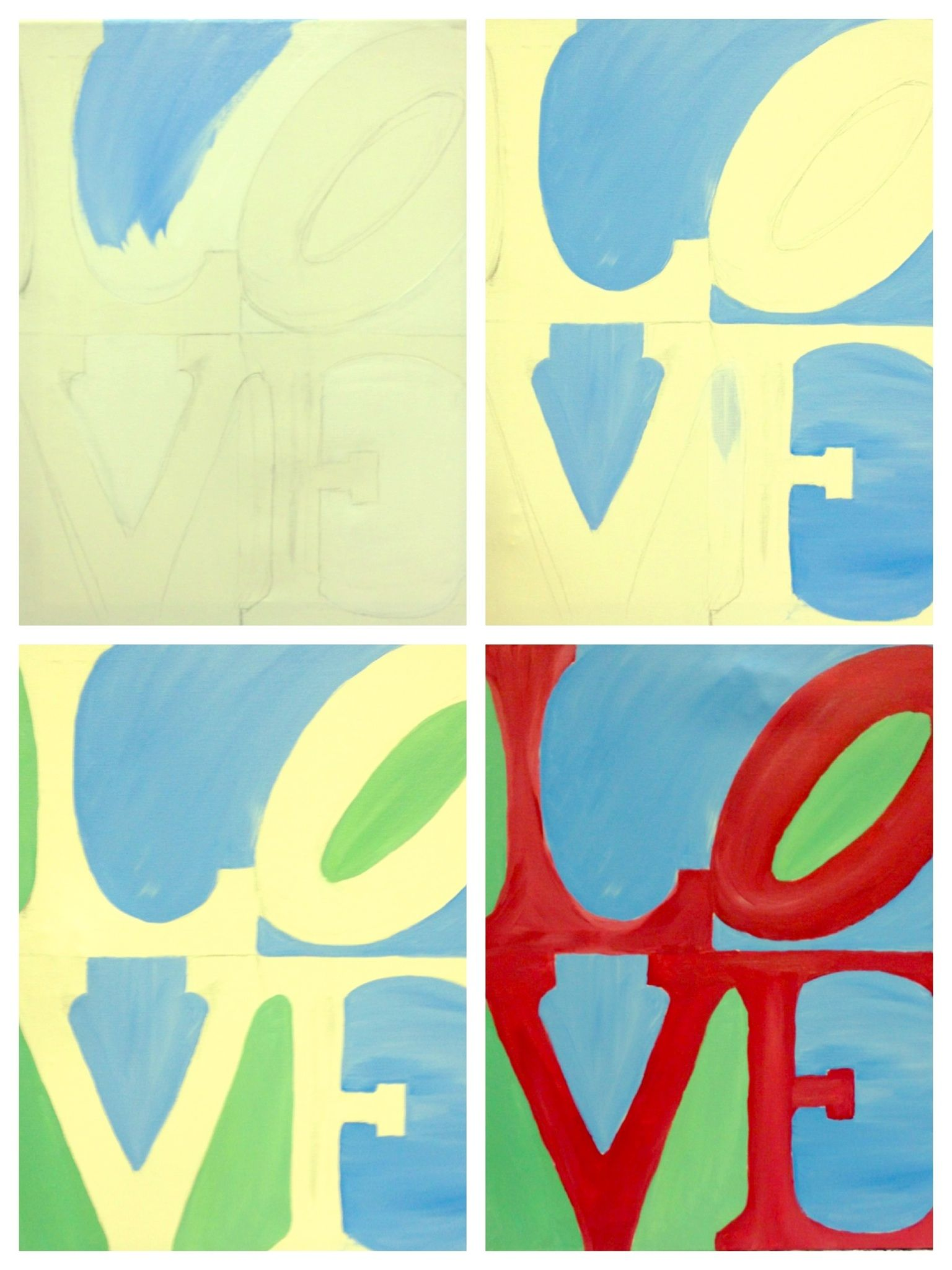 """Evolution of """"LOVE"""" painted Painting with a Twist Wayne"""