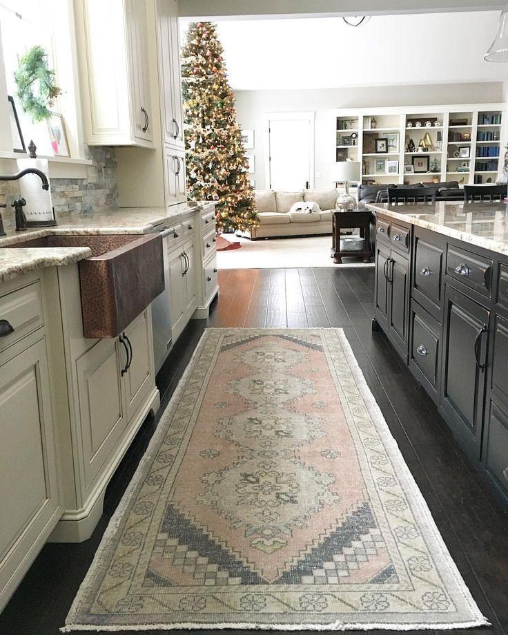 neutral kitchen with copper farmhouse sink and vintage oushak rug rh pinterest com