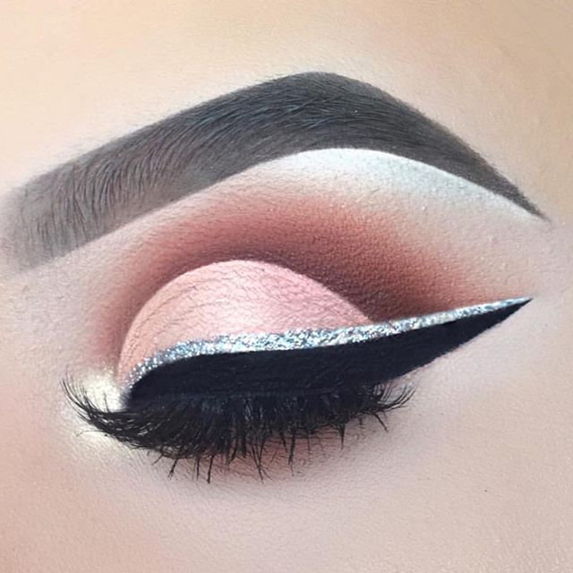 Pink and silver eye makeup