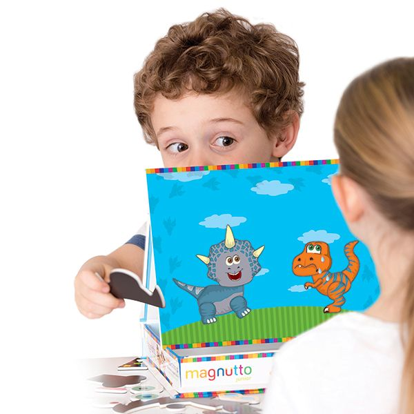 Magnetic dinosaur play set for exploring emotions and storytelling! 122 pieces: Heads, mouths, eyes, horns, arms, tails, bodies, claws, and more - They all combine to become all kinds of happy, sad, angry, and anxious dinosaur friends! Work through the included list of emotions to help your child recognize and recreate each one.