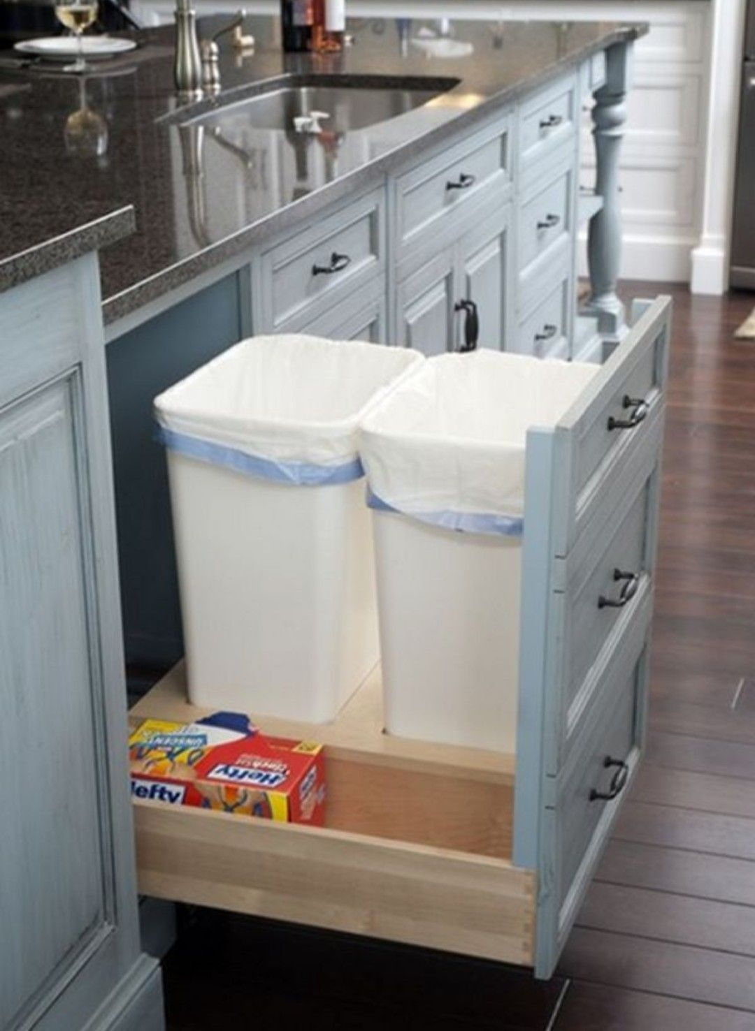 transform a regular cabinet into a pull out drawer for hidden trash rh pinterest com