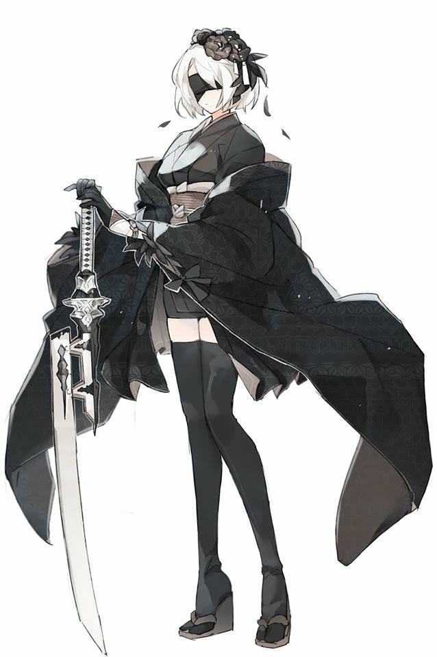 Type B Anime Characters : Nier automata b fanart kimono design asian style