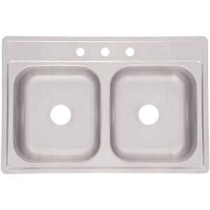 kindred drop in stainless steel 33 in 3 hole double bowl kitchen rh pinterest com