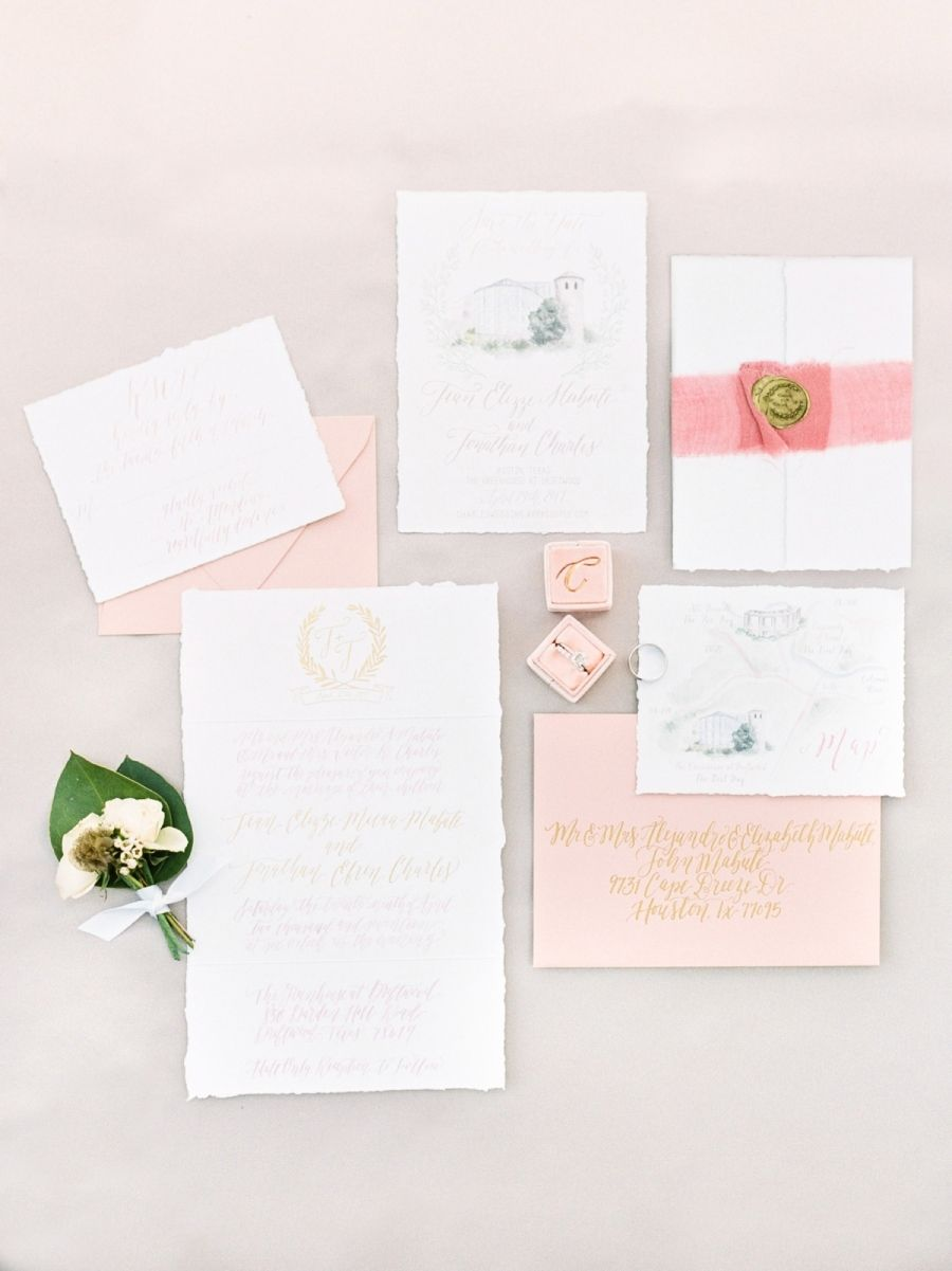invitations to wedding%0A Blush wedding invitation suite  Photography  Michelle Boyd  http   www