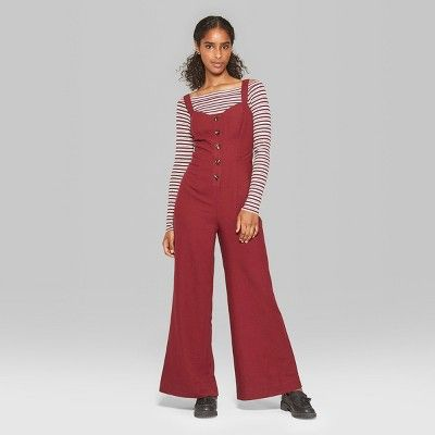 f2d2fbfec9 Women s Strappy Button Front Tie Back Jumpsuit - Wild Fable Red S ...