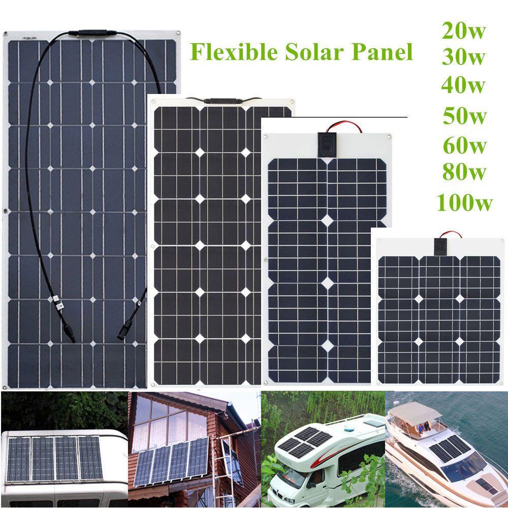 20w 100w Solar Panel Monocrystalline Flexible Cell Module For 12v