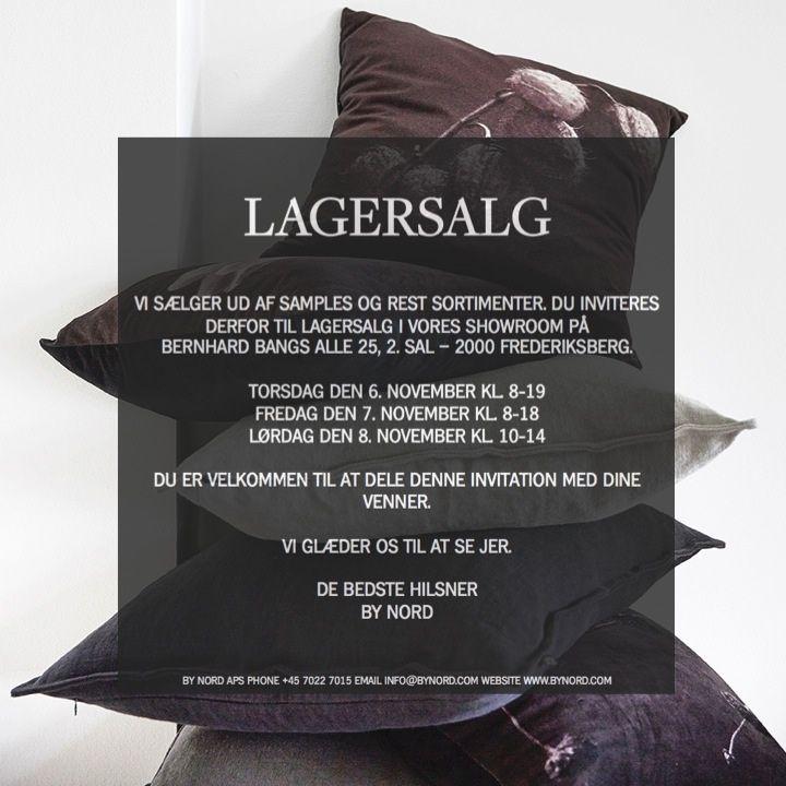 INVITATION TIL LAGERSALG PÅ FREDERIKSBERG  Vi afholder lagersalg i vores showroom på Frederiksberg den 6-8. november. Alle er velkomne og vi ville sætte stor pris på, hvis du har lyst til at dele denne invitation med dine venner og familie.  Adresse Bernhard Bangs Allé 25, 2. sal 2000 Frederiksberg  Åbningstider Torsdag den 6. november kl. 08.00 - 19.00 Fredag den 24. oktober kl. 08.00 - 18.00 Lørdag den 24. oktober kl. 10.00 - 14.00  Vi glæder os - og håber at se rigtig mange af jer!