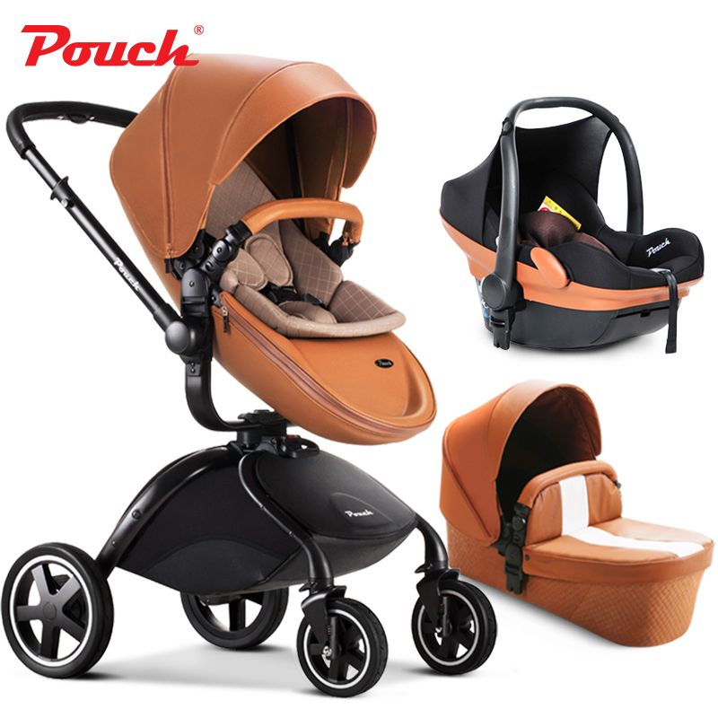 2017 Pouch Baby Stroller 3 In 1 Suspension Folding Child Trolley Car Seat Basket Bassinet