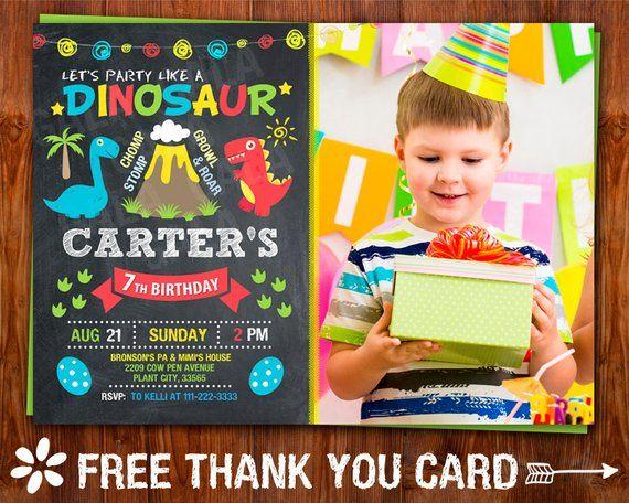 Dinosaur Birthday Invitation Party Boys Din
