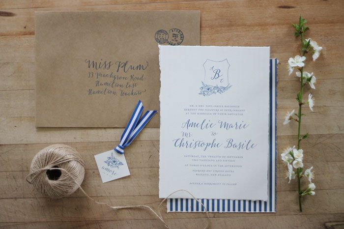 Just my type wedding invitation and wedding stationery design nz just my type wedding invitation and wedding stationery design nz french rustic navy blue srtipe stopboris Gallery