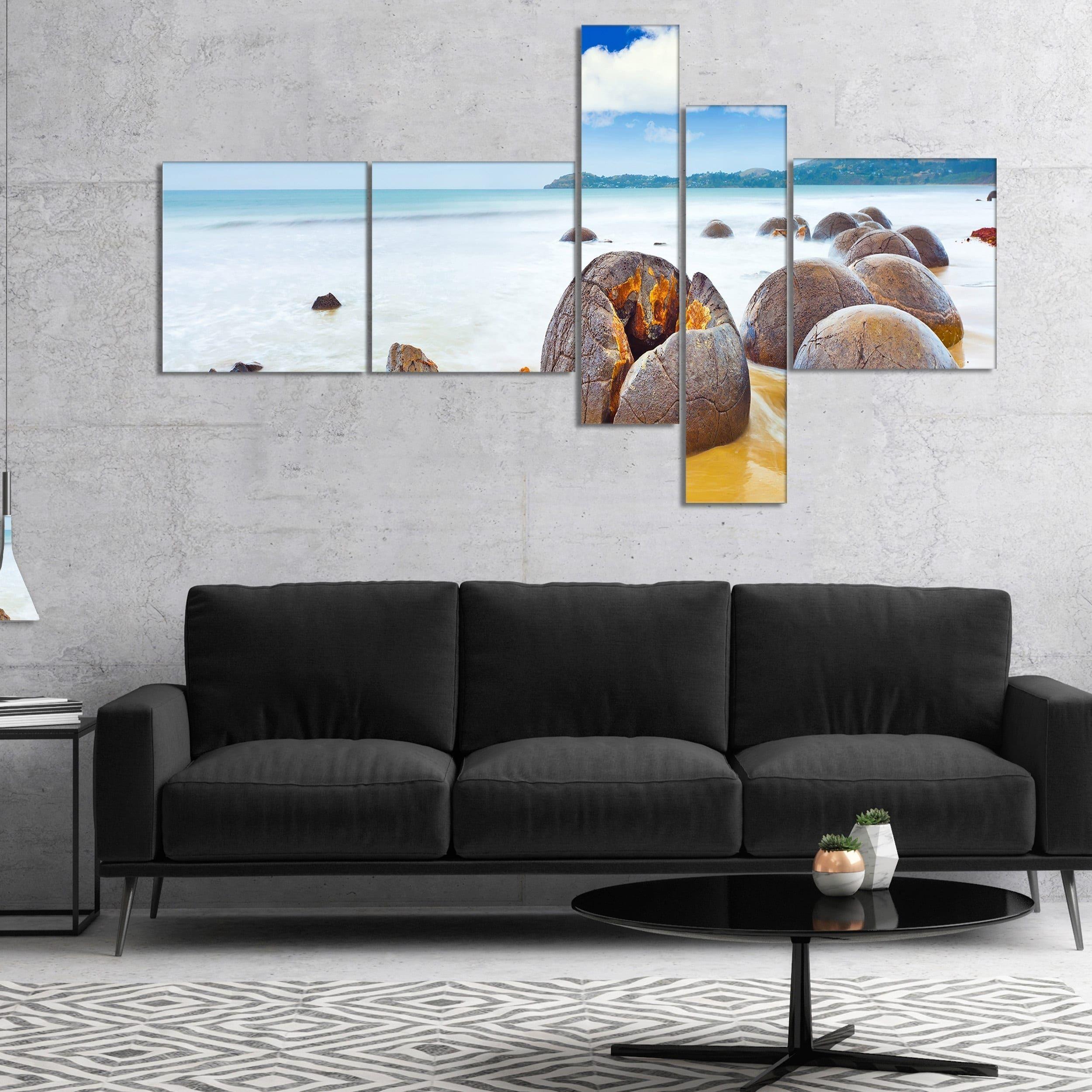 living room art prints%0A Designart  u    Midday Moeraki Boulders u     shore Photo Canvas Art Print
