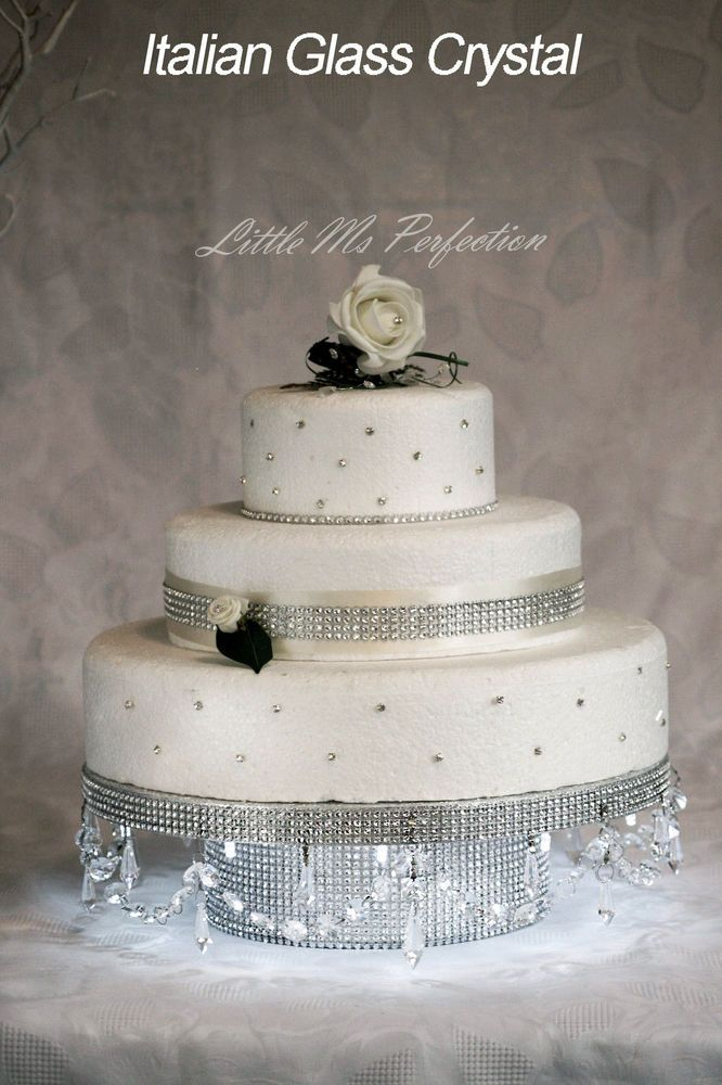 wedding cakes northern new jersey%0A Diamante crystal garland light up wedding cake stand pedestal gold silver