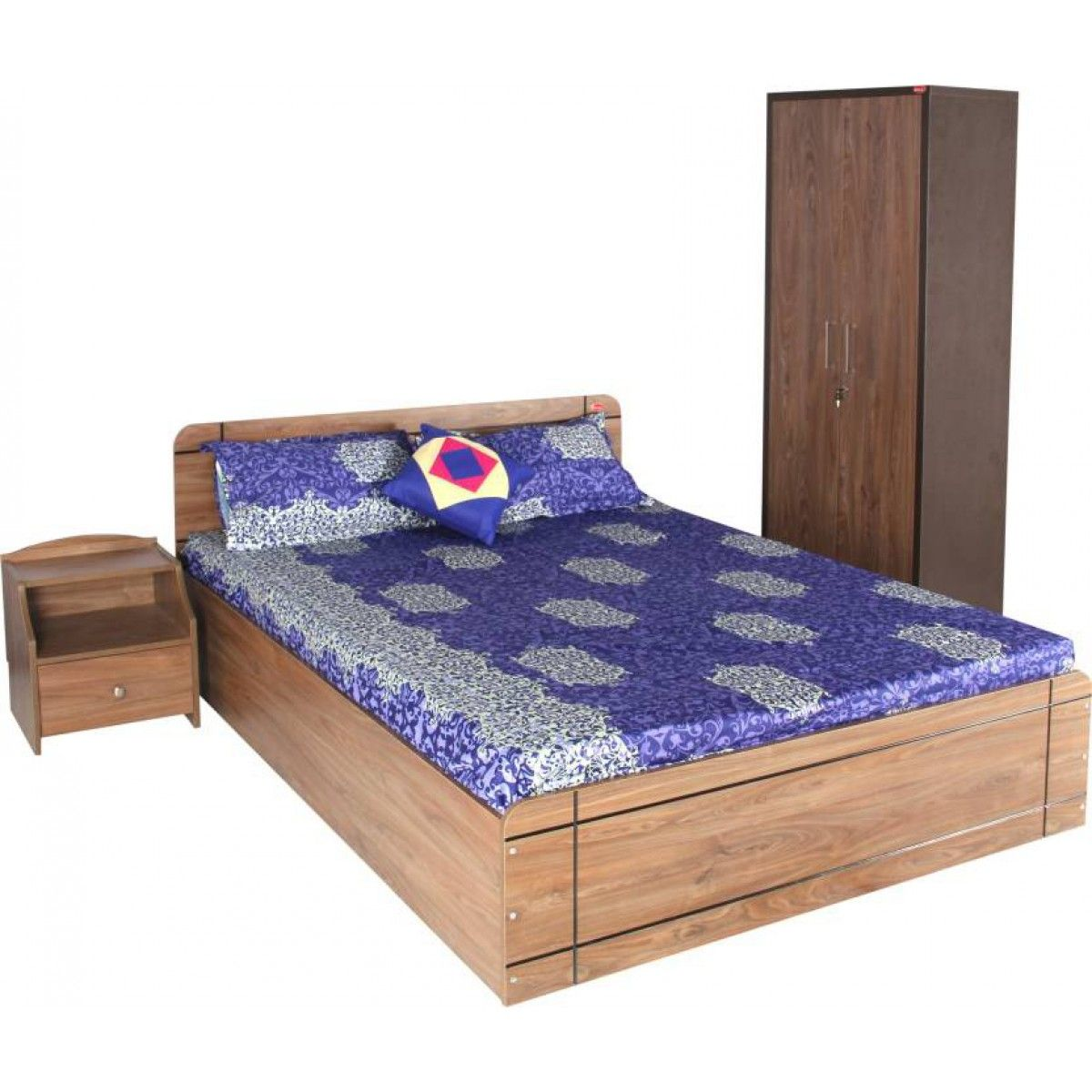 Gorevizon Axis Engineered King Size Bed With Full Storage Walnut Color Bed Furniture Design King Size Bed Designs Bed Design