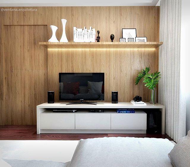 projeto para sala de estar e jantar com painel amadeirado e porta rh pinterest com