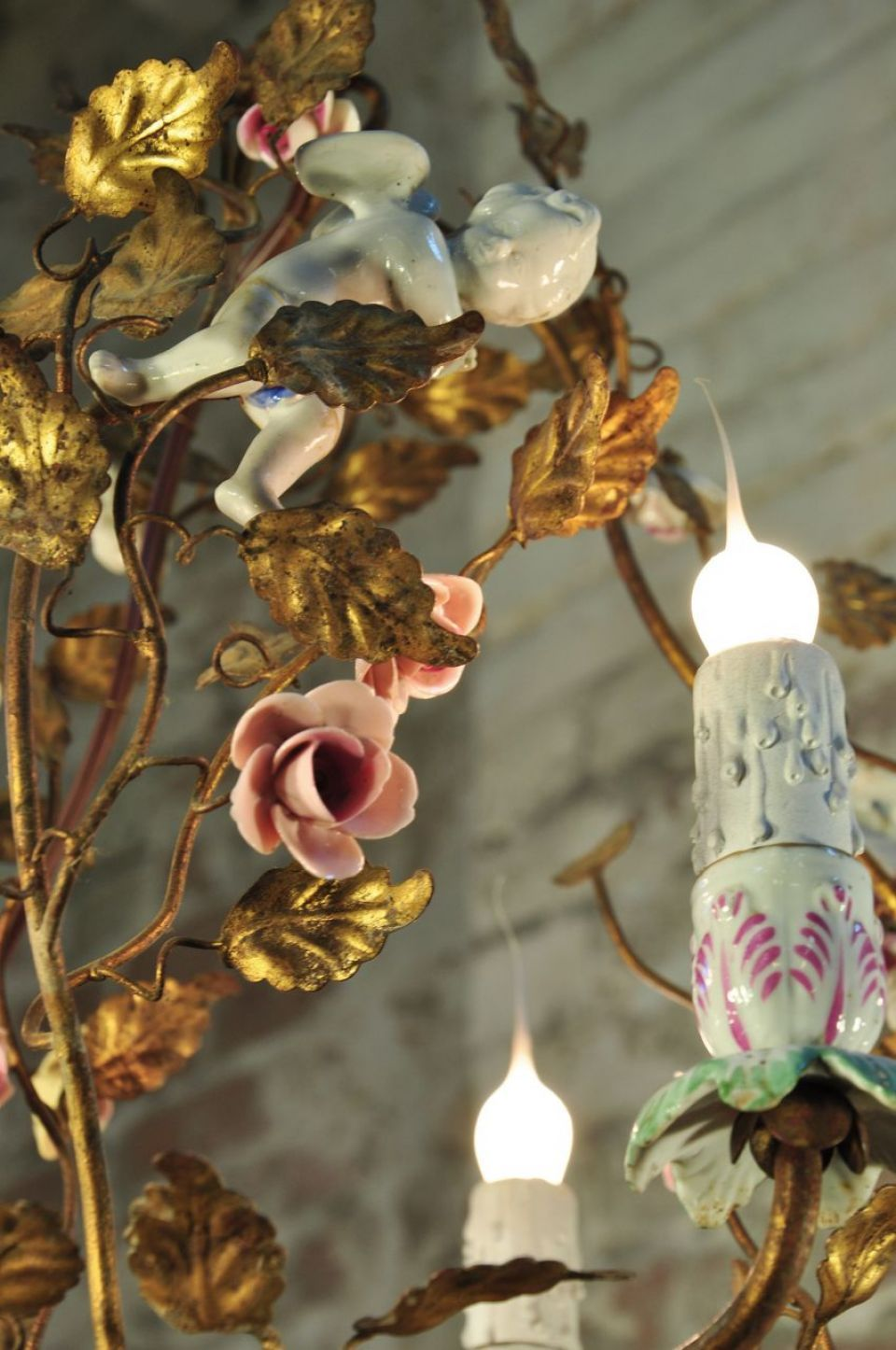 Bevolo collection porcelain flower chandelier lady like three arm bevolo collection porcelain flower chandelier lady like three arm chandelier with cut metal gold leaves arubaitofo Gallery