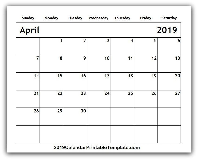 April 2019 Calendar Template   www